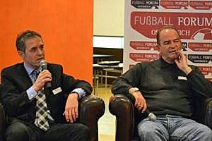 Teamchef Marcel Koller und ORF-Analytiker Herbert Prohaska vereint am Podium.