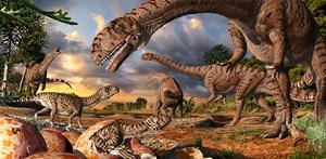 Riesige Mutter, winzige Baby-Dinos: Die neuen Funde legen nahe, dass die Aufzucht der Jungsaurier hochorganisiert war.