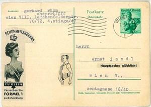 """""""Hauptsache: glücklich!"""": Angesichts der Schönheitskönigin zieht der Mann seinen Bauch ein. Postkarten-Collage von Gerhard Rühm an Ernst Jandl vom 7. September 1957."""
