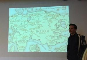 """Die neue Landkarte:   """"Über die klassische  Welt legt sich das soziale Netz."""""""