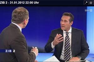 """Strache stellte den Hergang der Ereignisse am Dienstag in der """"ZiB2""""  anders dar als Parteigeneralsekretär Vilimsky am Donnerstag."""