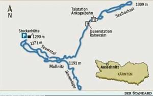 Die Route: Das Loipennetz von Mallnitz:Sonnen-Loipe Rabisch: Länge 3,4 Kilometer, Höhendifferenz 20 Meter, leichtTauerntal-Loipe: Länge 7,8 Kilometer, Höhendifferenz 110 Meter, mittelSeebachtal-Loipe: Länge 5,3 Kilometer, Höhendifferenz 20 Meter, leichtVerbindungsloipe: Länge 3,4 Kilometer, Höhendifferenz 100 Meter, mittelAlle Loipen Skating und klassisch, Loipenplan, Loipengebühr. Einkehrmöglichkeiten: Stockerhütte und Gasthaus Gutenbrunn im Tauerntal; Ranneralm und Gasthaus Alpenrose bei der Talstation der Ankogelbahn; Gasthäuser in Mallnitz.500