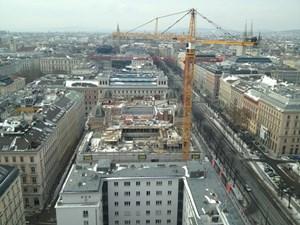 Noch ist es eine Baustelle: Hier ein Blick vom 20. Stockwerk des Ringturms.