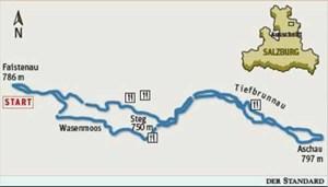 Das Loipennetz von FaistenauTiefbrunnau-Loipe: leicht, Länge 19,2 Kilometer, Nummer 3 grünBramsau-Loipe: leicht, Länge 4,2 Kilometer, auch Nachtloipe, Nummer 1 rotDorf-Loipe: leicht, Länge 4,5 Kilometer, Nummer 2 orangeOberacher-Loipe: mittel, Länge 4,2 Kilometer, Nummer 4 violettSkating-Loipe: mittel, Länge zehn Kilometer, davon fünf Kilometer Nachtloipe, Nummer 5 blau.Loipenplan ohne Maßstab, Ausrüstungsverleih, Loipengebühr.Stützpunkte: Gasthof Alte Post, Gasthof Oberascher, Gasthof Steinbräu, Itzis Loipenrast, Loipenstüberl