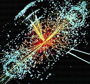Mitlerweile fast schon ein ikonisches Bild: Der simulierte Zerfall eines Higgs-Bosons.
