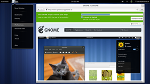 GNOME Web (ehemals: Epiphany) wurde einem vollständigen Redesign unterzogen, das sich ganz an die neuen GNOME3-Anwendungskonzepte hält.