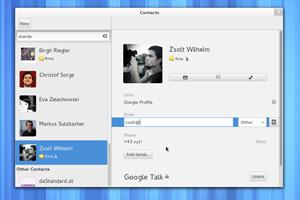 Das Interface von GNOME Contacts wurde noch einmal gröber überarbeitet, was der Anwendung durchaus gut getan hat. Im Screenshot ebenfalls gut zu sehen sind die neuen, schlanken Scrollbalken von GNOME 3.4.