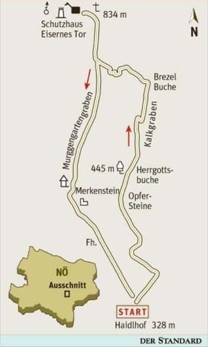 Gesamtgehzeit 3¾ Stunden, Höhendifferenz rund 550 Meter. Schutzhaus Eisernes Tor (Montag, wenn kein Feiertag, geschlossen). ÖK25V Blatt 5201-West (Berndorf), Maßstab 1:25.000; Freytag & Berndt Wienerwald Atlas, Maßstab 1:50.000.