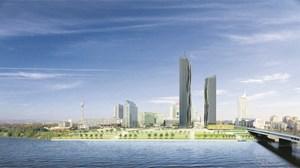 Mit 220 Meter Höhe wird der DC Tower 1 auf der Wiener Donauplatte das höchste Bauwerk Österreichs werden. Mitte 2013 soll er fertiggestellt sein.