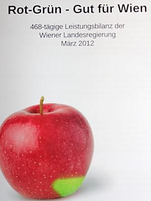 Der knallrote Apfel als Symbol für die Wiener Machtverhältnisse aus sozialdemokratischer Sicht.