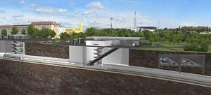 """Ein Querschnitt durch die geplante Station """"Altes Landgut"""" unter dem Verteilerkreis."""