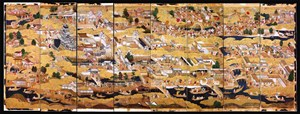 Die acht Bahnen des auf Schloss Eggenberg entdeckten Paravents zeigen Schloss und Stadt Osaka um 1600.