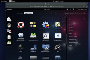 Selbst die GNOME Shell lässt sich bereits innerhalb von Boxes nutzen - Voraussetzung ist dafür aber eine aktuelle Nightly von Fedora 17.