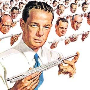 Das richtige Instrument bei der Bewältigung der Mangelwirtschaft? Werbesujet eines IT-Konzerns aus den 50er-Jahren.