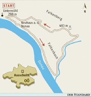 Gesamtgehzeit 3¼ Stunden, Höhendifferenz etwa 250 Meter. Kein Stützpunkt auf der Runde, Gaststätte in Untermühl. ÖK25V Blatt 4313-West (Haslach an der Mühl), Maßstab 1:25.000