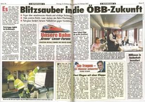 """""""Blitzsauber in die ÖBB-Zukunft"""" und """"Sie fragen - der Minister antwortet"""": Zweiseitige """"Medienkooperation"""" in der """"Kronen Zeitung""""."""