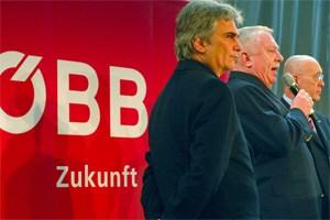 2008 am Praterstern: Werner Faymann, damals noch Infrastrukturminister, Wiens Bürgermeister Michael Häupl und der damalige ÖBB-Generaldirektor Martin Huber.