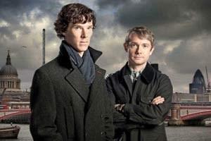 """Am 29. April zeigt der ORF zwei Staffeln der britischen Hitserie """" Sherlock"""": Benedict Cumberbatch (li.) und Martin Freeman als Meisterdetektiv und treuer Freund im London von heute."""