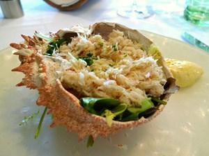 Ich hab schon besser gesponnen, aber zweifellos kein Fehler: Granseola alla Veneziana, Blattsalatbett und Mayo unter der Seespinne. Man kann definitiv schlechter essen.