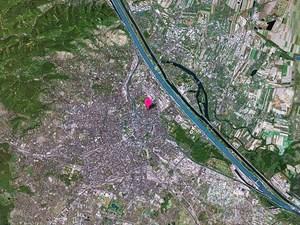 Wiens Mitte vom Satelliten aus betrachtet.