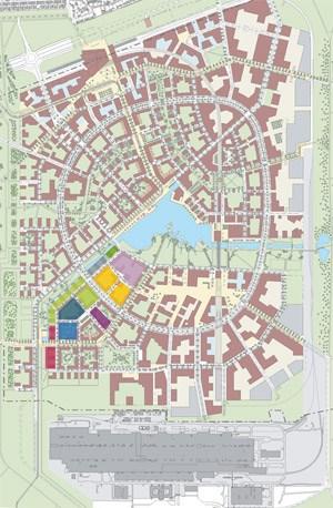 Zwei der 14 Bauplätze liegen direkt am 50.000 Quadratmeter großen See, der der neuen Stadt ihren Namen gibt. Der Detailplan unten zeigt die Nummern der Bauplätze und wer dort baut, oben die Lage dieses Gebiets im Seestadt-Masterplan.