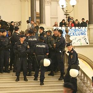 Polizeieinsatz an der Universität Wien.