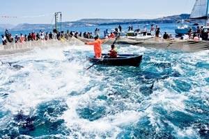 Mattanza in Carloforte auf San Pietro vor Sardinien: Wenn die Fischer die Netze zusammenziehen und die Thunfische an die Oberfläche gedrängt werden, scheint das Meer zu kochen.