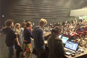 Das Plenum im Audimax der Uni Wien.