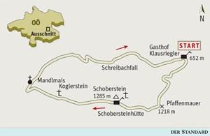 Gesamtgehzeit 3½ bis 3¾ Stunden, Höhendifferenz 700 Meter. Schobersteinhaus ganzjährig bewirtschaftet (Montag und Dienstag - außer Feiertag - geschlossen). ÖK25V Blatt 4201-Ost (Molln), Maßstab 1:25.000; Nationalpark Kalkalpen Wanderkarte Sengsengebirge, Maßstab 1:35.000