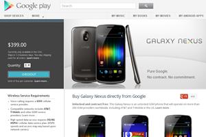 Der Eintrag zum Galaxy Nexus im Google Play Store - aktuell nur mit einer US-IP-Adresse erreichbar.