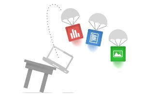 """Die """"Wolke"""" wuchert mehr und mehr in den Computeralltag breiter Anwenderschichten hinein. Statt Fotos, Videos, Musik oder Texte auf die eigene Festplatte zu bannen, bedienen sich immer mehr Nutzer Online-Diensten, bei denen das Material auf Servern im Netz gebannt wird, auf die sich von überall zugreifen lässt. Überraschend spät reiht sich auch Google nun in das wachsende Angebot ein: Mit seiner Online-Festplatte Drive, die am Dienstag vorgestellt wurde."""