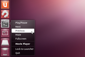 """Mit """"Precise Pangolin"""" gibt es für einige weitere Programme Quicklists im Unity-Launcher, hier am Beispiel des Videoplayers Totem."""