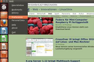Unity unterstützt bereits das neue App-Menü von GNOME 3.4, hier am Beispiel des Web-Browsers Epiphany.