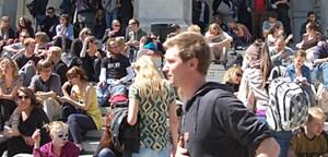 Studenten protestierten gegen den Senatsbeschluss.
