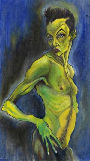 René Luckhardt eignete sich in frühen Gemälden (Selbstporträt, 1993) den Stil Egon Schieles an. Jahre später inspirierten ihn Posen des Expressionisten für eine Fotoserie, die er nun wiederentdeckt hat.