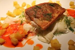 Der Hauptgang: Saiblingsfilet auf Fenchelkraut mit Erdäpfelwürfeln und Spitzpaprikasud.