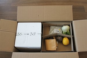 Der Kochbox-Karton geöffnet.