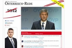 Das Bild der ÖVP-Website ab 10 Uhr: Links das Photoshop-Bild, rechts das Bild des Livestreams.