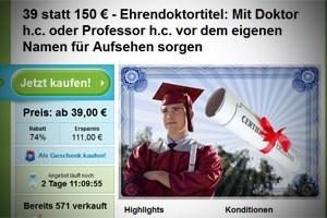 Ehrendoktor vom Schnäppchenportal, aktuell um 39 Euro