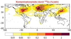 Weltweite Wahrscheinlichkeit einer radioaktiven Kontamination: Die Karte gibt in Prozent an, wie hoch die jährliche Wahrscheinlichkeit einer radioaktiven Verseuchung von über 40 Kilobecquerel pro Quadratmeter ist. In Westeuropa liegt sie bei etwa zwei Prozent in einem Jahr.