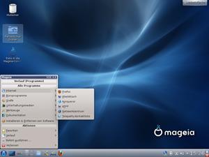 Der KDE 4.8-Desktop von Mageia, von Haus aus wird hier das alte KMenu verwendet.