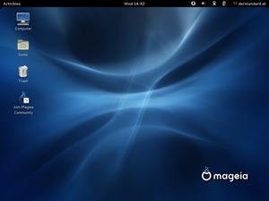 Auch GNOME gibt es auf dem neuesten Stand, die Distribution nimmt hier nur leichte Modifikationen vor. So werden etwa von Haus aus Icons am Desktop angezeigt.
