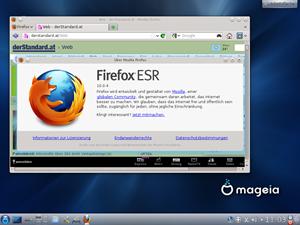"""In Browserfragen vertraut Mageia dem Firefox, hierbei nutzt man die von Mozilla vor allem für Unternehmen gedachte """"Extended Support Release""""."""