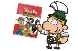 """Ein Rindvieh, die Berge und der vergoldete Strauß - das sind die Sujets, die auf dem Cover des """"Unser Österreich Stickerbuchs"""" von Billa prangen."""