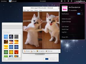 Der Desktop kommt wie gewohnt von GNOME, hier in der aktuellen Version 3.4.1 enthalten und weitgehend unmodifiziert.