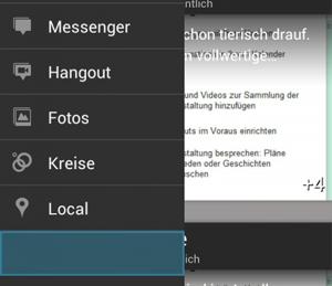 In der Google+-App für Android wird ein Platz freigehalten. Vergrößern