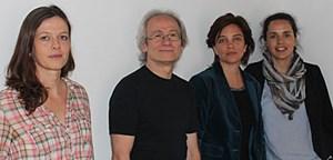 Die prämierten ORF-Mitarbeiter. V.l.n.r.: Isabelle Engels (Leopold Ungar Preis 2010 und Prix Bohemia 2011), Arno Aschauer, Ursula Scheidle (beide Leopold Ungar Anerkennungspreis 2011 und Claus Gatterer Preis 2012) und Monika Kalcsics (1. Preis der Radiostiftung Basel).