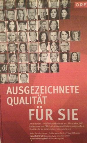 """In Inseraten wirbt der ORF mit seinen """"ausgezeichneten"""" Journalisten. Ursula Scheidle, Monika Kalcsics, Isabelle Engels und Arno Aschauer sind auch dabei."""
