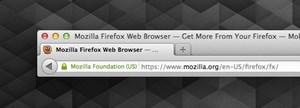 Die überarbeitete Adresszeile im Firefox 14: Kein Favicon mehr, andere Darstellung des Verschlüsselungsstatus.