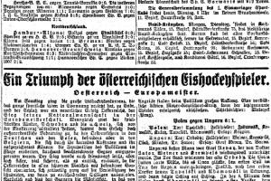 Die Schlagzeile im Sport-Tagblatt vom 31.Jänner 1927 gehörte dem ersten österreichischen EM-Titel im Eishockey.